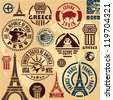 Travel stamps. Travel icons set. Travel labels collection. - stock photo