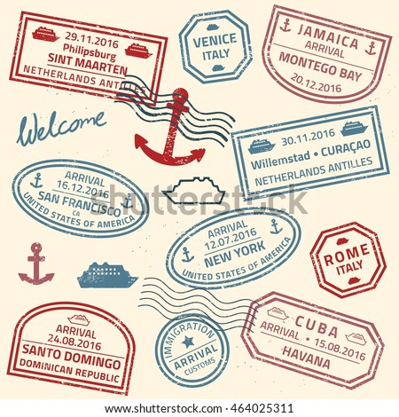 Travel stamps vector background - grunge fictitious passport visas for cruise ship destinations.