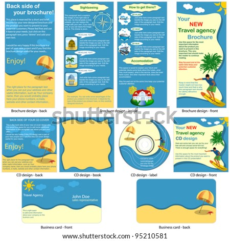 Travel stationary template - brochure design, CD cover design and business card design in one package and fully editable. - stock vector