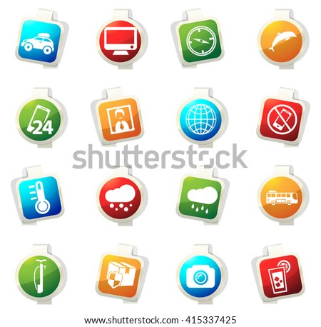 Travel stickers label icon set for web sites