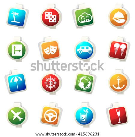 Travel stickers label icon set for web sites - stock vector