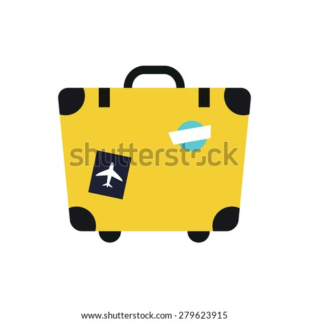 Travel suitcase icon. Flat vector illustration - stock vector