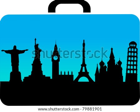 travel suitcase with cities icons , vector - stock vector