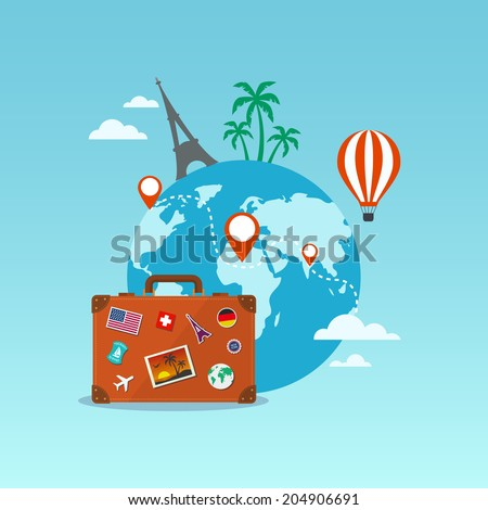 Travel suitcase with globe and icons. Eps 10 illustration - stock vector