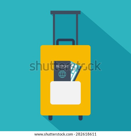 Travel suitcase with passport and boarding pass ticket icon. Flat vector illustration - stock vector