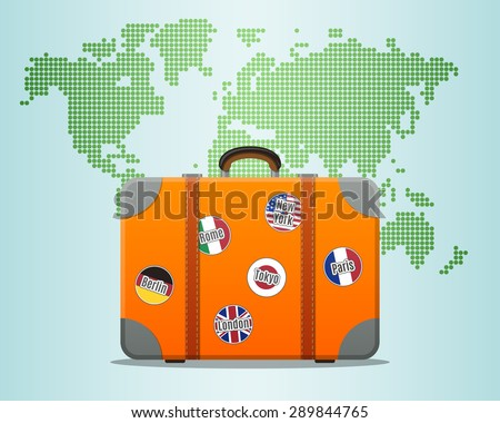 Travel suitcase with stickers and world map - stock vector