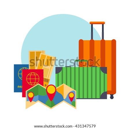 Travel suitcases luggage bag journey and tourism trip travel retro suitcases. Voyage travel suitcases summer airport concept. Vintage classic brown leather suitcases travel concept vector. - stock vector