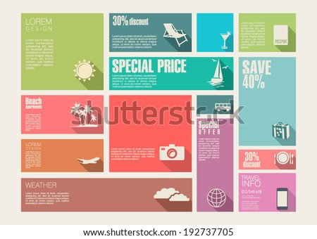 Travel template for interface or infographic - stock vector