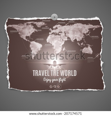Travel the world design on peace of old photo paper with continets,ocean,plane and text-Enjoy your flight - over grey background - stock vector