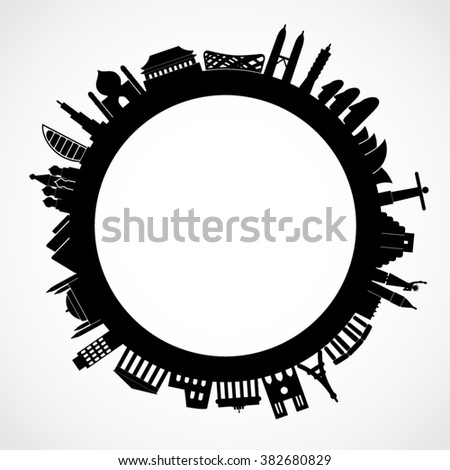 travel theme background / world famous places / vector illustration - stock vector