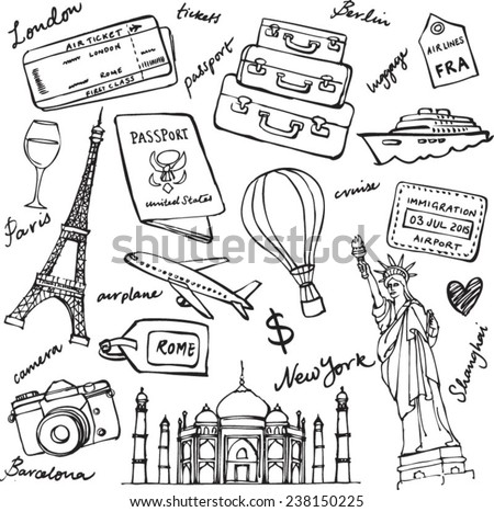 Travel theme doodle vector set grunge background