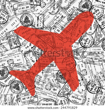 Travel theme illustration with plane icon and border stamps pattern - stock vector