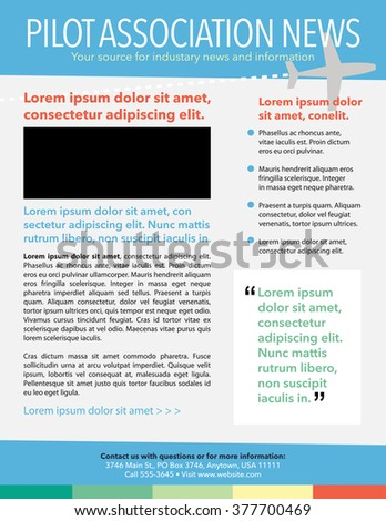 Travel theme newsletter template with airplane, bullet list, and pull quote - stock vector