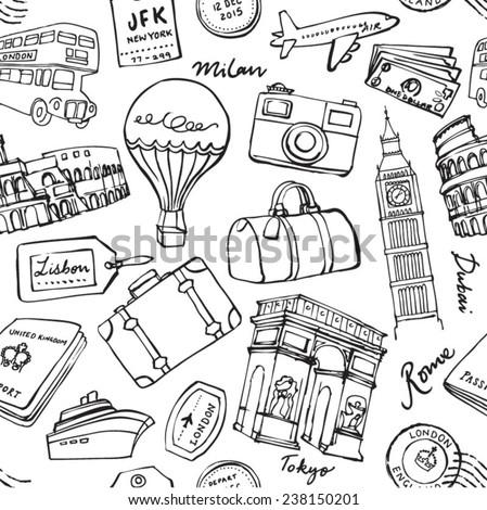 Travel theme seamless vector grunge background - stock vector