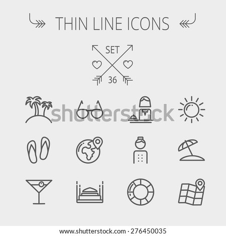 Travel thin line icon set for web and mobile. Set includes- beach umbrella, slippers, map, sun, sunglasses, palm tree icons. Modern minimalistic flat design. Vector dark grey icon on light grey - stock vector