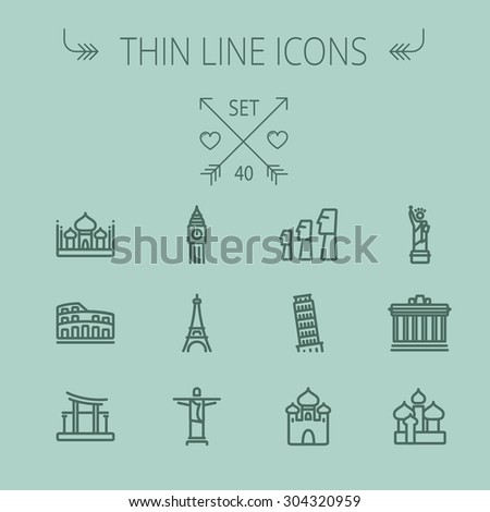 Travel thin line icon set for web and mobile. Set includes- mosque, statue, tower, clock, office building, famous gate, national library, muslim community, leaning tower pisa, icons. Modern - stock vector