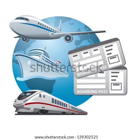 travel tickets icon - stock vector