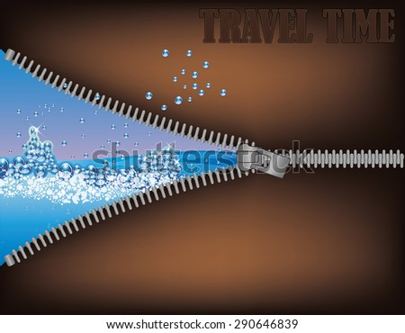 Travel time. Zipper opening a tropical  beach, vector illustration