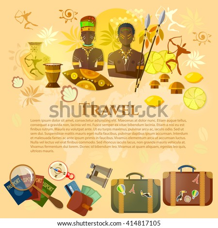 Travel to Africa banner Africa culture and traditions suitcase compass passport travel background people africa tribe africa vector illustration - stock vector