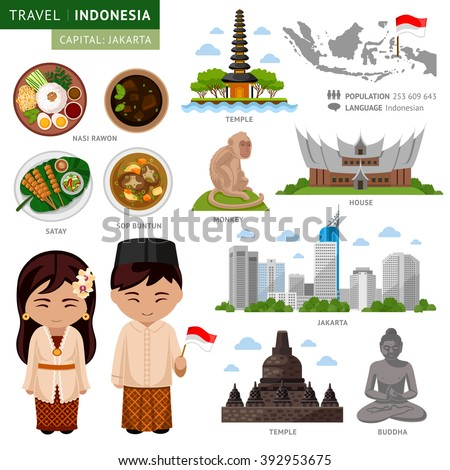 Travel to Indonesia. Bali. Set of traditional cultural symbols, cuisine, architecture. A collection of colorful illustrations for the guidebook.Indonesian peoples in national dress. Attractions. - stock vector
