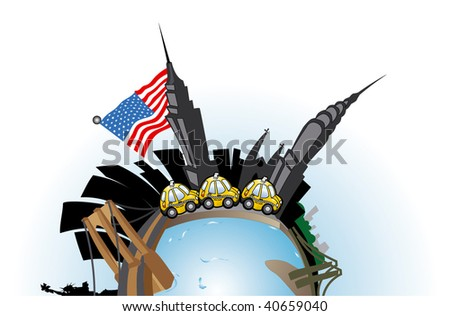 travel to New York - stock vector