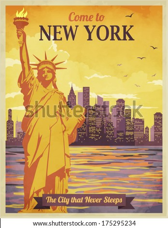 travel new york poster vintagestyle advertisement stock. Black Bedroom Furniture Sets. Home Design Ideas
