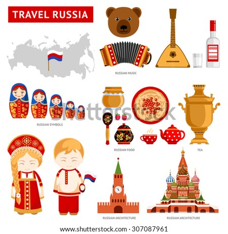 travel to russia set of icons of russian architecture food costumes traditional