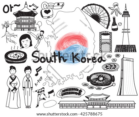 Travel to South Korean doodle drawing icon with culture, costume, landmark and cuisine tourism concept in isolated background, create by vector   - stock vector