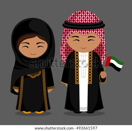 Stock Vector Travel To United Arab Emirates People National Dress With Flag Man And Woman Traditional Uae Day Boy