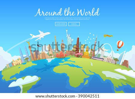 Travel to World. Road trip. Tourism. Landmarks on the globe. Concept website template. Vector illustration. Modern flat design. - stock vector