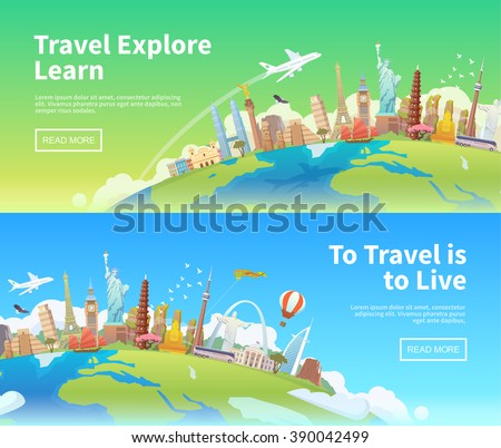 Travel to World. Trip to World. Road trip. Tourism. Landmarks on the globe. Horizontal web travel banners. Travelling illustration. America, Asia, Europe. Modern flat design. - stock vector