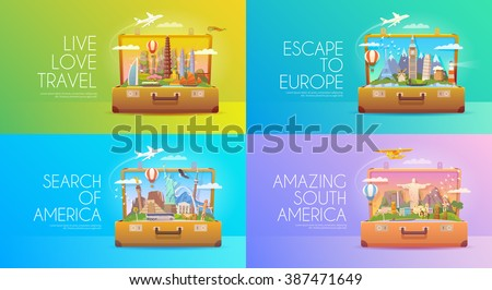 Travel to World. Trip to World. Vacation. Road trip. Tourism to America. Asia. Europe. . Open suitcase with landmarks. Travel vector banners. Travelling illustrations. Wanderlust. Flat style. - stock vector