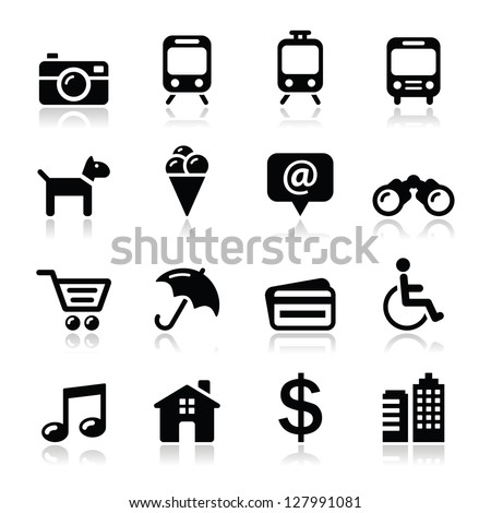 Travel tourism and transport icons set - vector - stock vector