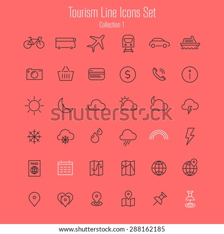 Travel, tourism, hotel and weather thin line icons, set 1 - stock vector