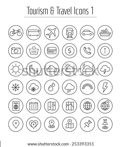 Travel, tourism, hotel and weather thin line icons with circles, set 1 - stock vector