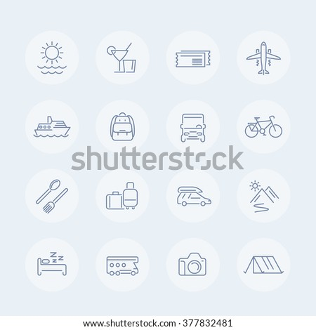 Travel, tourism thin line icons, vector illustration - stock vector