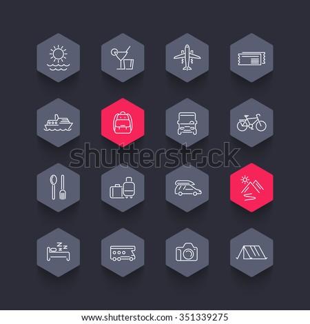 Travel, tourism, trip, tour line hexagon icons, vector illustration - stock vector
