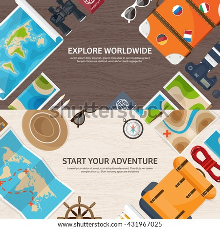 Travel Tourism Vector Ilration In A Flat Style World Travel Banner Summer Holidays