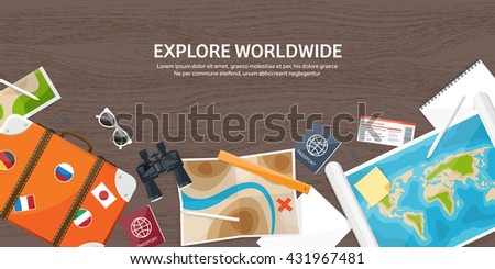 Travel,tourism vector illustration in a flat style.World travel banner.Summer holidays, vacation.Travel around the world.Journey,trip plan.Tourists tips.International tourism.World map,suitcase