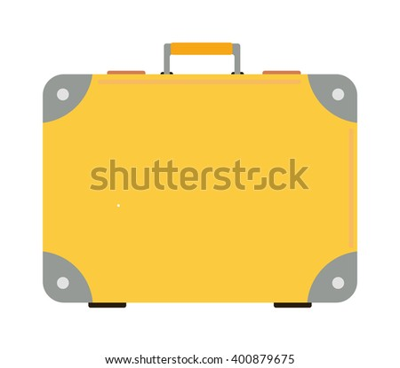 Travel tourism yellow bag and vacation handle travel yellow bag. Travel bag leather big packing and voyage big yellow bag destination. Travel yellow bag on wheels. Journey suitcase travel bag trip - stock vector