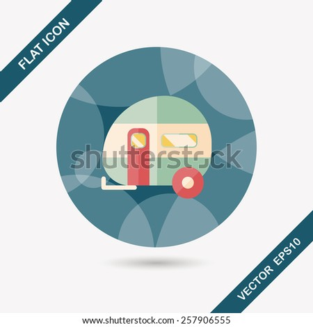 Travel trailer flat icon with long shadow - stock vector