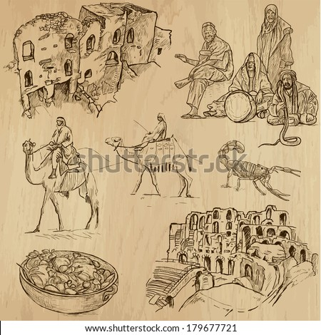 Travel : TUNISIA set no.2. Collection of hand drawn illustrations. Each drawing comprises two or three layers of outlines, the colored background is isolated. - stock vector