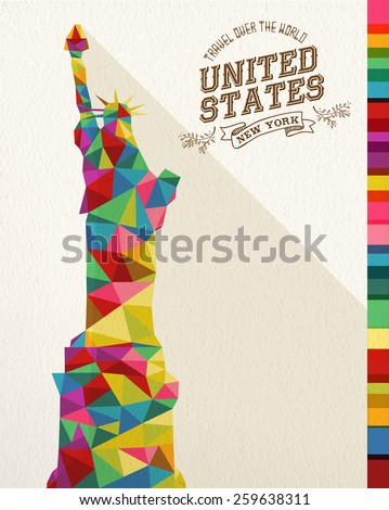 Travel United States famous landmark. Colorful polygonal monument with vintage label and textured paper background. Ideal for website, brochure or marketing campaign. EPS10 vector file. - stock vector