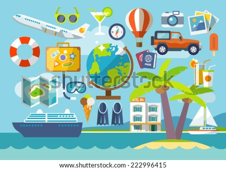 Travel vacation flat design set. Vector concept  illustration. Travel banner. - stock vector