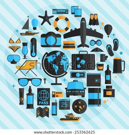Travel vacation flat design set. Vector concept illustration. Travel banner. - stock vector