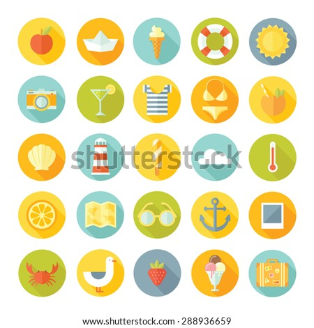 Travel vacation modern style vector concept flat design big icons set. Tourism, planning the journey, travel objects, passenger luggage and equipment in bright colors. Summer collection. - stock vector