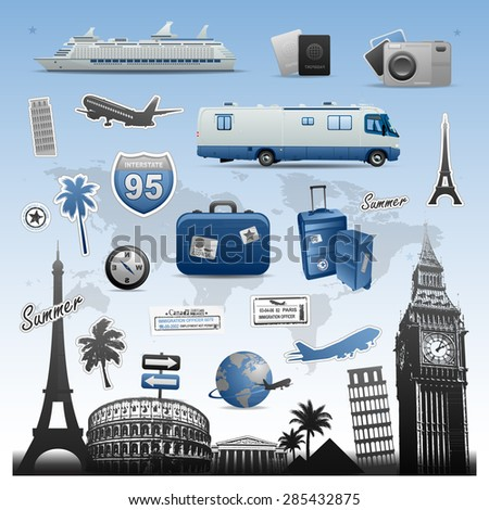 Travel vacations icons and symbols elements - stock vector