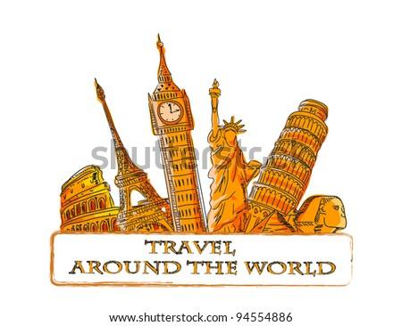 Travel vector background - stock vector