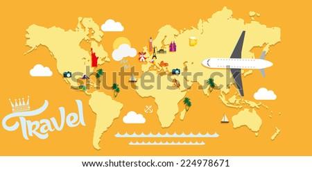 Travel vector background illustration - stock vector