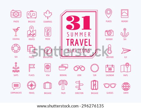 Travel vector icons set. Sea, rout and holiday symbols. Stock design elements. Key ideas is camera, anchor, 	cocktail, design elements. - stock vector